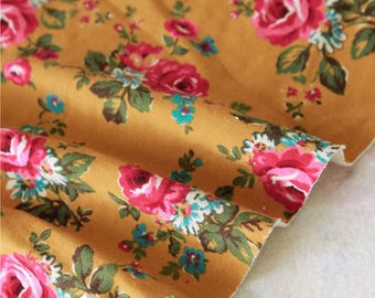 Brushed French Terry Knit Fabric Rose Mustard