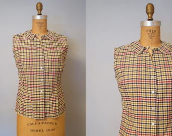 1950s Plaid Print Blouse / Fitted Plaid Shirt