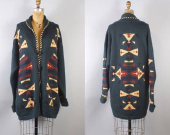 Vintage 1980s Aztec Wool Sweater Jacket / Women's Wool Jacket XL