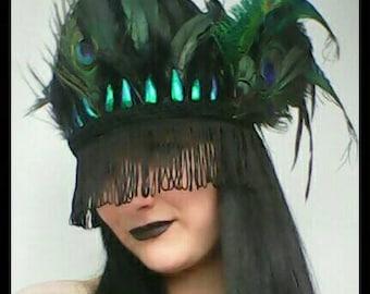Black Dusk Til Dawn Gothic Gatsby Cabaret Burlesque Burning Man Fringed Beetlewing Feather Festival Headdress