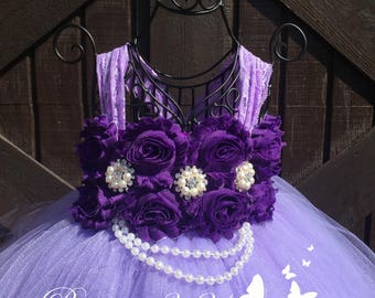 Lavender Flower Girl Dress, Purple Flower Girl Dress, Lavender Tutu Dress, Purple Tutu Dress, Lavender Tulle Dress, Purple Tulle Dress