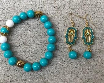 Turquoise Hamsa Hand jewelry combo