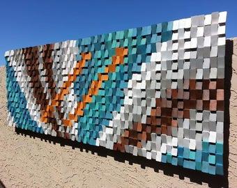 "Wood wall art, wood wall decor, wood wall art large, wood wall sculpture, modern wood art, geometric wood art, 36"" x 96"", Shipping included!"