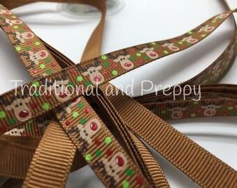 """3 yards US Designer 3/8"""" Christmas Reindeer Rudolph on brown Grosgrain Ribbon"""