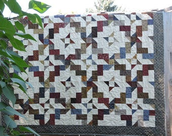 "Scrap or Patchwork Quilt in Burgundy, Blue, Gold, Brown, Green, Cream and More    52.5"" x 60"""