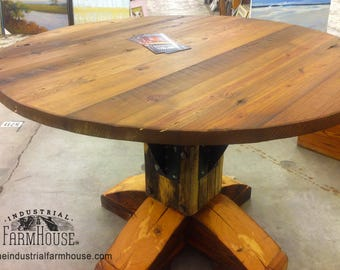 DINING TABLE: Round Antique Heart Pine Farmhouse Table