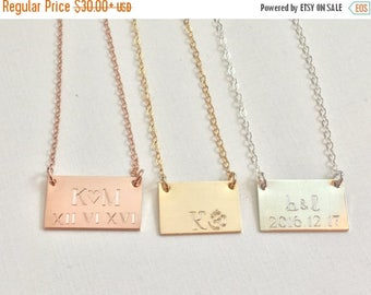 ON SALE Gold Bar Necklace, Engraved Bar Necklace Wedding date necklace initial necklace Personalized Necklace engraved gold Necklace bridesm