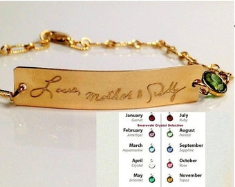 ON SALE Handwriting Bracelet  / Actual Handwritten Jewelry Birthstone Signature Bracelet Personalized engraved bracelet Memorial loved one's