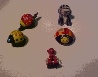 Five (5) Vintage Japan  Tin Toys by  Line Mar and K Toys Bugs,Cat and Robot