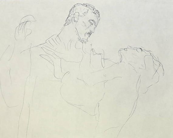 Large Gustav Klimt print of black pencil drawing of standing man and woman, 9.5 x 14 inches, 24 x 35.5 cm, published 1980