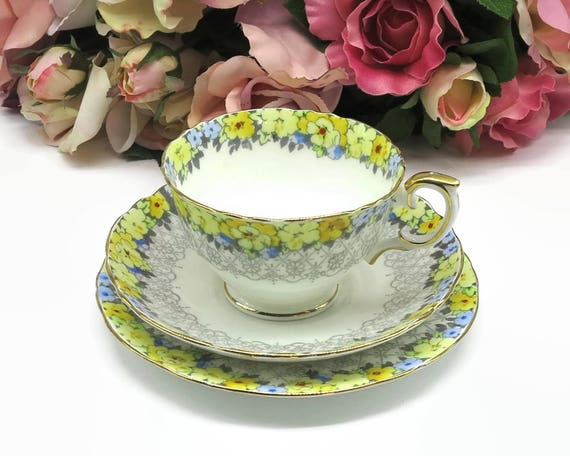 Crown Staffordshire cup, saucer, 2 plates with blue and yellow flowers and grey lace pattern, F15034, fine bone china, England, 1930s - 1956