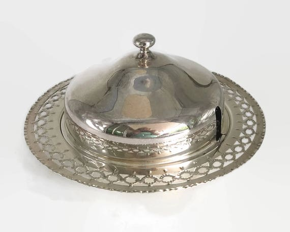 Silver plated butter dish with glass insert and cover, Perfection brand, made in Australia, mid 20th century