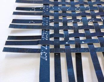 Celestial Paper Weaving- Original Woven Art- Abstract Constellation- Handpainted- Midnight,  Indigo Blue- Contemporary- 13x13