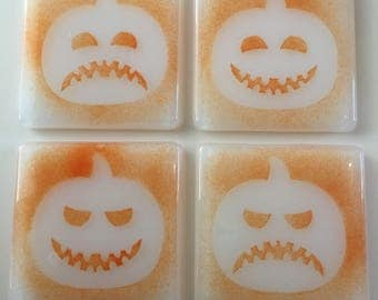 Pumpkin coasters fused glass