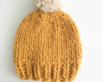 Merino Wool - yellow with Pompom adult Hat
