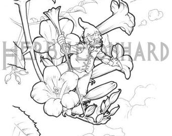 Herb Leonhard Adult Coloring Page Fairy Garden Book Digital