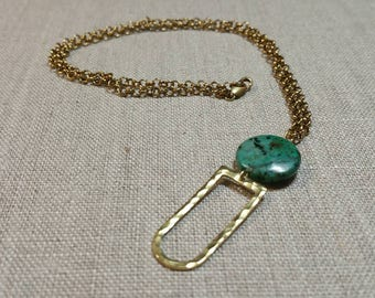 African Turquoise Hammered Brass D Ring Necklace / Boho Chic / Minimalist / Geometric - NHD01
