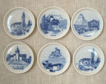 """6 Suisse Langenthal Blue & White Wall Plaques 3.5"""" Vintage Porcelain Swiss Towns and Landmarks Made for S Christian San Francisco, CA"""