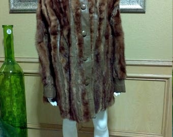 Light Brown Mink Coat Leather Fur Jacket By Columbia Furs à carreaux coat   vintage 1970s mink fur coat   leather and fur 70s coat M/L