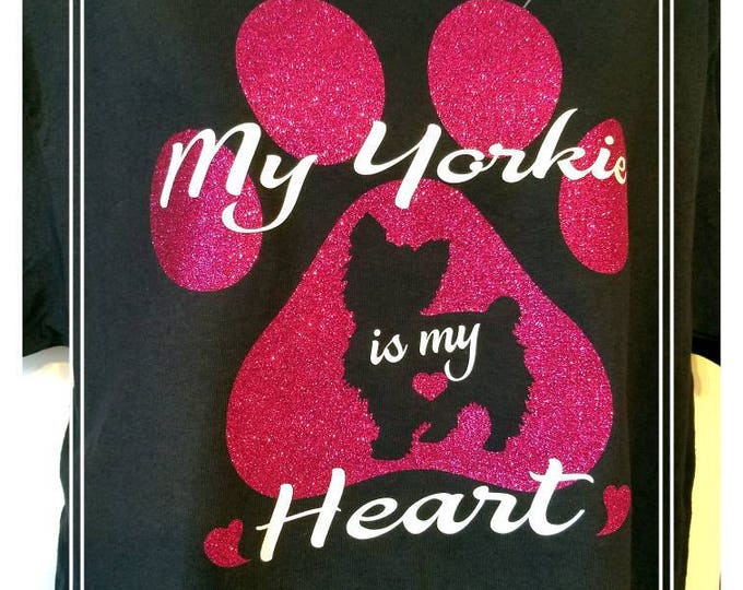 Featured listing image: My Yorkie is my Heart T-Shirt/My Yorkies are my Heat T-Shirt.