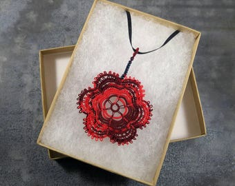 Tatted Rose Pendant Necklace, Scarlet, Handmade lace jewelry