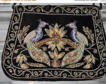Vintage Embroidered  Embellished Velvet Bohemian Purse