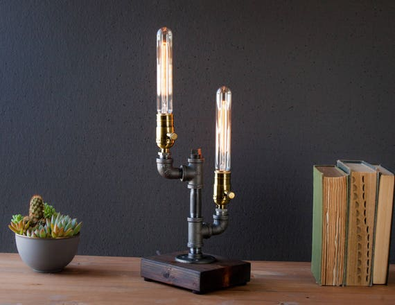 Dual Cactus Tube Industrial Lamp - Steampunk Lamp - Table Lamp - Edison Lamp - Vintage Lamp - Pipe Lamp - Bedside Lamp - Rustic Lighting