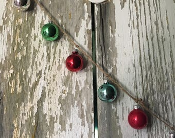 Glass Mini Ornament Garland Vintage Christmas