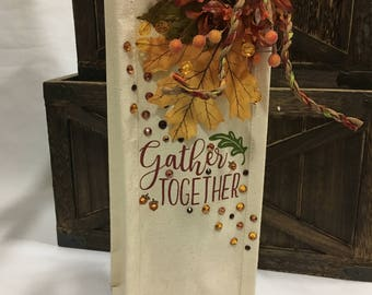 "The Perfect Gift!  ""Gather Together"" Thanksgiving Canvas Wine Bag with Swarovski Crystals"