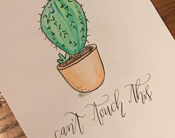 Can't Touch This Cactus Watercolor