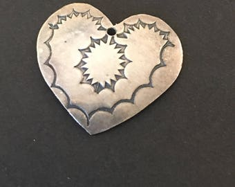 Sterling Silver , Vintage Native American Etched Heart Pendant.