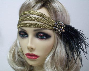 Gold 1920s headband,  1920s headpiece, Gatsby headband, Flapper headpiece, Gatsby Forehead headband, 1920s hair accessory, Vintage inspired