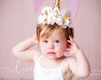 Pink + Ivory || Unicrown Headband || 100% Merino Wool Felt Flowers + Satin Ruffle || Unicorn Crown