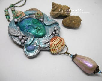 Ocean Dreaming silver & turquoise polymer clay and resin jewelry pendant necklace handmade One of a Kind