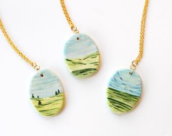 Landscape Paintings - Ceramic Charm Necklace