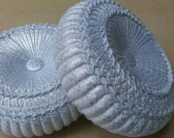 12inch  Thai pumpkin pillow Thai fabric White cushion Round pumpkin Vintage style