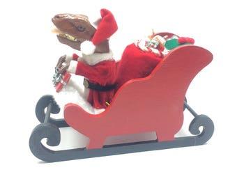 Miniature Christmas Santa Sleigh - TyrannoSantaSaurus!  Dinosaur