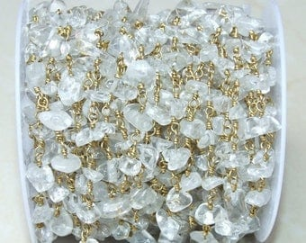 Clear Quartz Nugget Chip Rosary Chain - Gold Plated Wire Wrapped Rosary Chain.  6mm - 12mm Chips - Sold by the Foot
