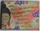 "Buddha inspirational quote mixed media wall art 16"" x 20"" on canvas Buddha art buddha wall art"