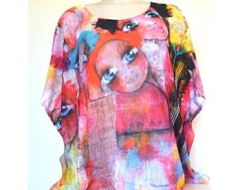 Tunique très colorée avec la  peinture de Myriam Bourianne