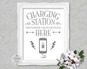Charging Station Sign, Grey Lettering, Printable, Wedding Sign, Party, Power Bar (#CH11A)
