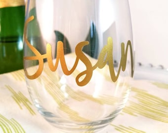 Bridesmaid Wine Glass, Monogrammed Wine Glass, Personalized Wine Glass, Bridesmaid Gift, Stemless Wine Glass