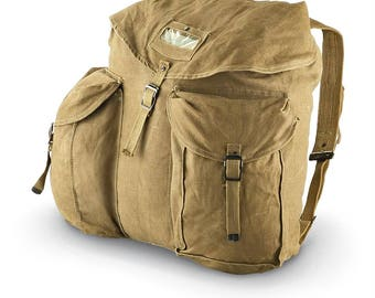 Stained Rusted Vintage Italian army rucksack backpack day pack  ruck sack shoulder bag canvas military