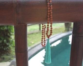 Sacred Rudraksha Seed Mala Necklace w/Turquoise Tassel