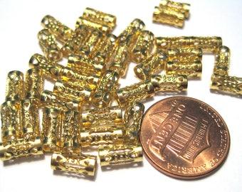 30pcs Raw Brass Filigree Tube Spacer Beads 8mm x3.8mm