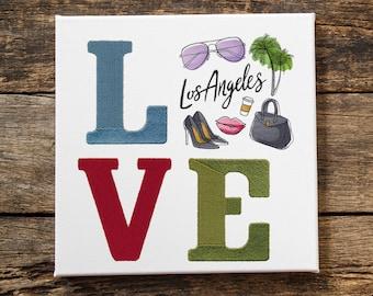 Wall art - Fiber Art - Embroidered wall art- Love Los Angeles-  Home decor - Decorative wall art- London- England-Princeton Threads