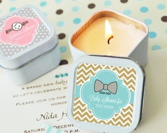 Personalized Square Baby Shower Candle Tins - 24 pieces