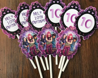 12 Personalized Disney Descendants 2 Inspired Cupcake Toppers, Food Picks or Party Decorations