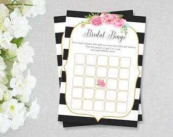 Kate Spade Bridal Shower Games, Bridal Shower Bingo, INSTANT DOWNLOAD, Bridal Shower Activities, Black Stripes Bridal Shower, Printable Game