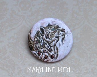 saber tooth Tiger brooch badge